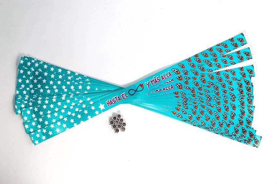Pack de 25 pulseras de tela personalizadas para bodas