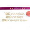 Packs de 100 pulseras y chapas de 38mm personalizables