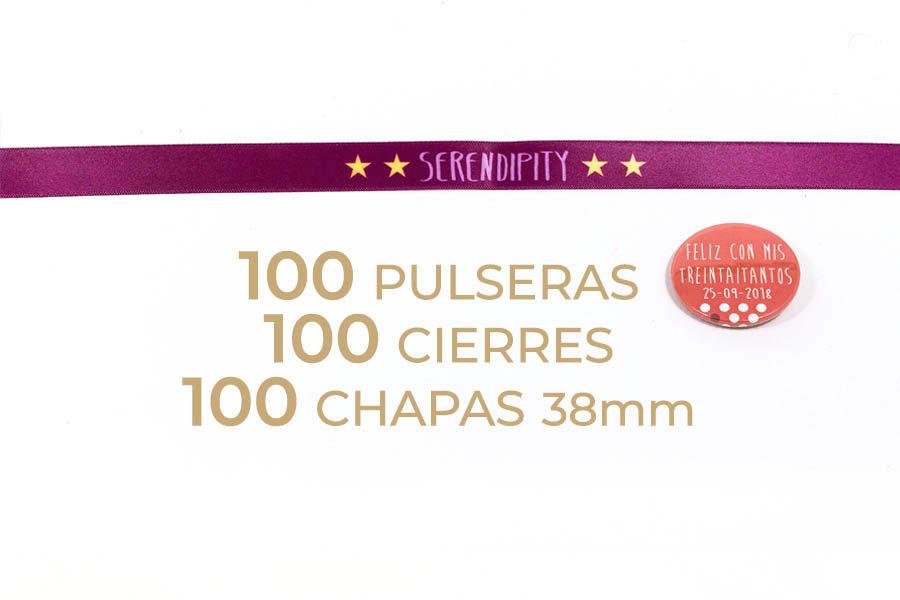 Packs de 100 pulseras y chapas de 38mm personalizables
