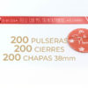 Packs de 200 pulseras y chapas de 38mm personalizables