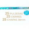 Packs de 25 pulseras y chapas personalizables