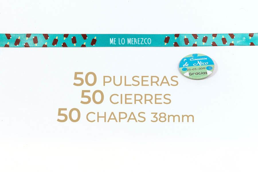 Packs de 50 pulseras y chapas de 38mm personalizables