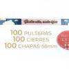 Packs de 100 pulseras y chapas personalizables