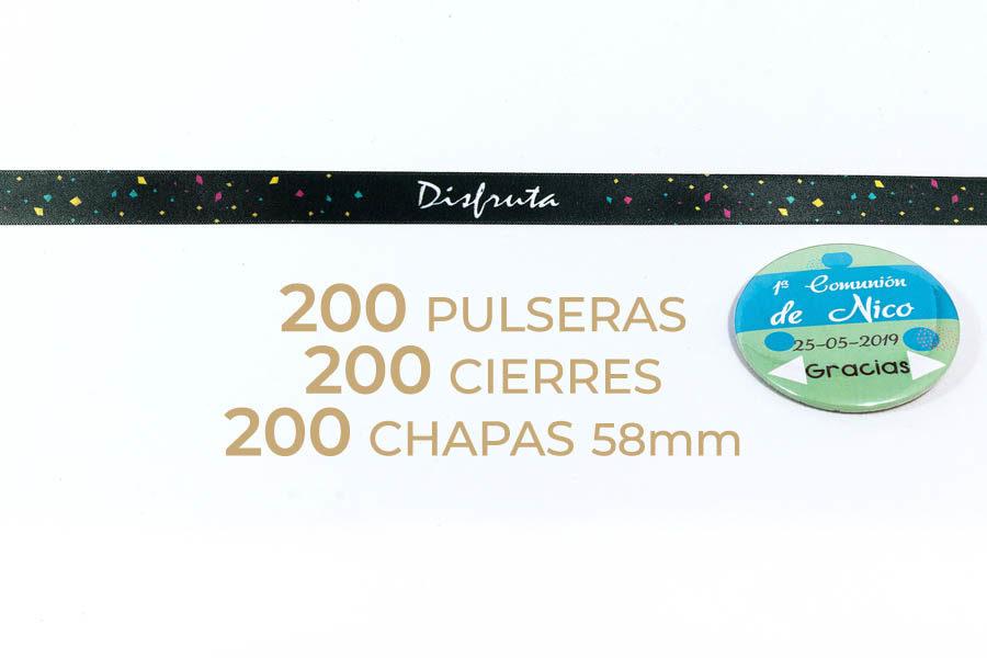 Packs de 200 pulseras y chapas personalizables