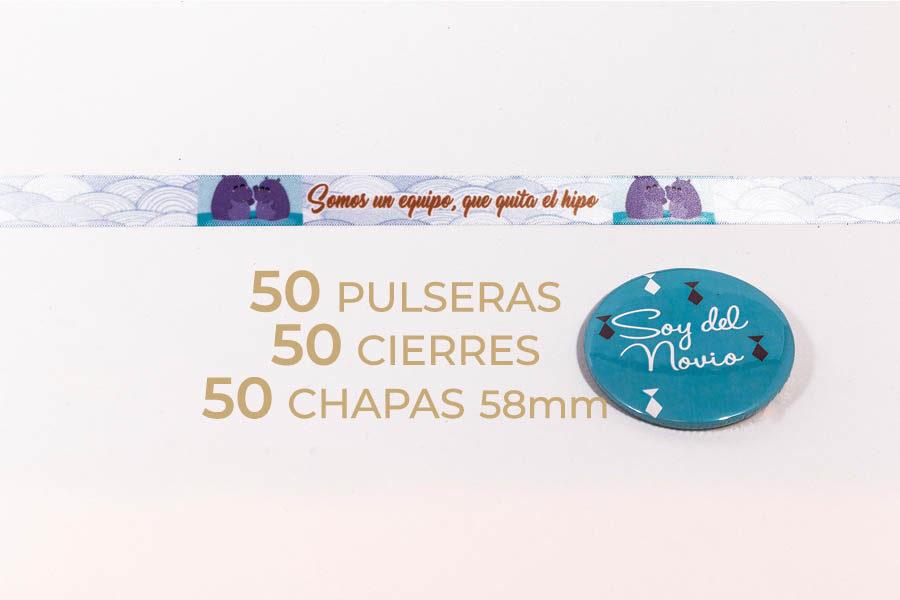 Packs de 50 pulseras y chapas personalizables