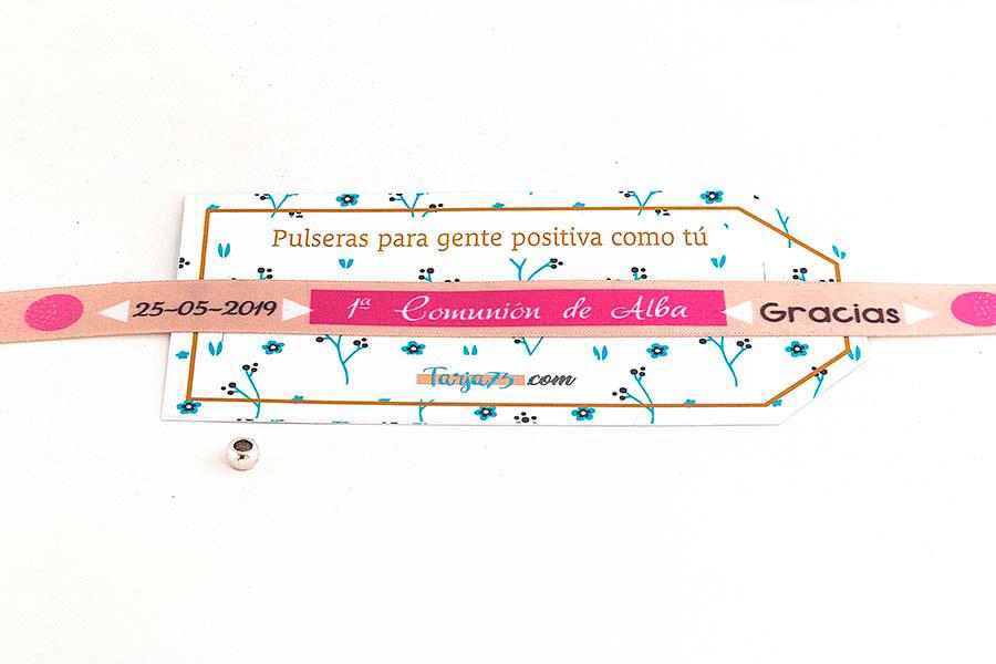 Pulsera de tela de comunión para niña